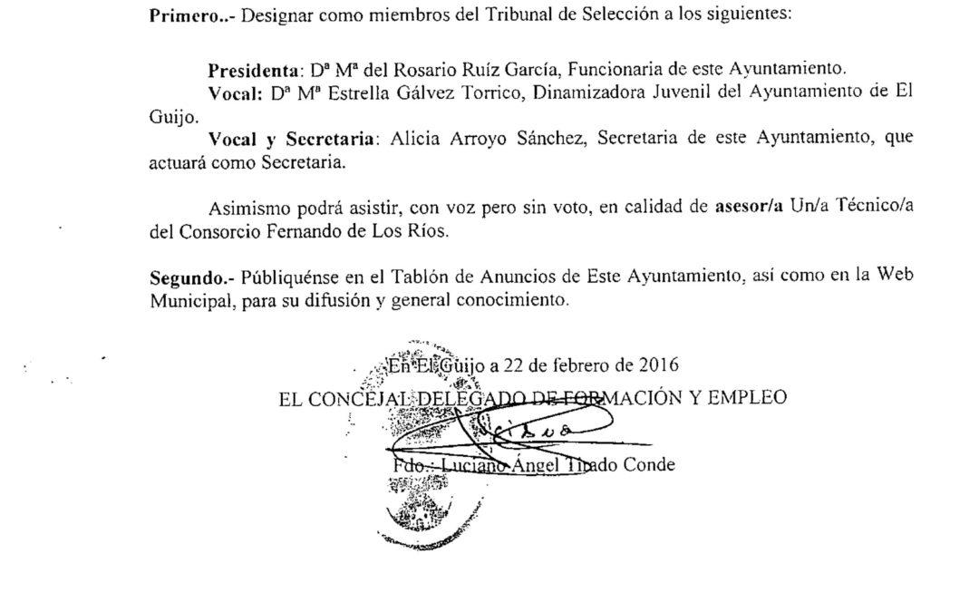 DECRETO DESIGNACIÓN DEL TRIBUNAL PARA LA SELECCIÓN DE UN/A DINAMIZADOR/A DEL CENTRO GUADALINFO. 1