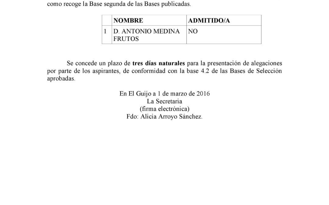 BANDO DE EXCLUSIÓN DE CANDIDATO A LA PLAZA DE DINAMIZADOR/A CENTRO GUADALINFO 1