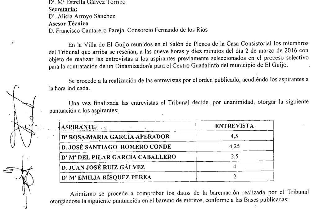 ACTA DEL TRIBUNAL DE SELECCIÓN DEL DINAMIZADOR/A DEL CENTRO GUADALINFO DE EL GUIJO 1
