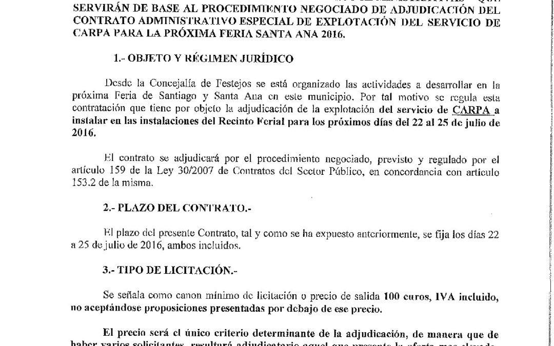 PLIEGO DE CONDICIONES PARA LA EXPLOTACIÓN DE LA CARPA PARA LA FERIA SANTA ANA 2016 1