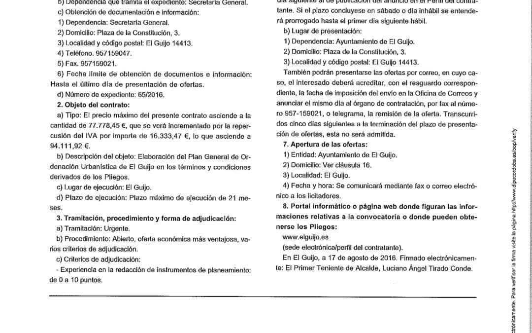 ANUNCIO RECTIFICADO DE LA LICITACIÓN PGOU EL GUIJO 1