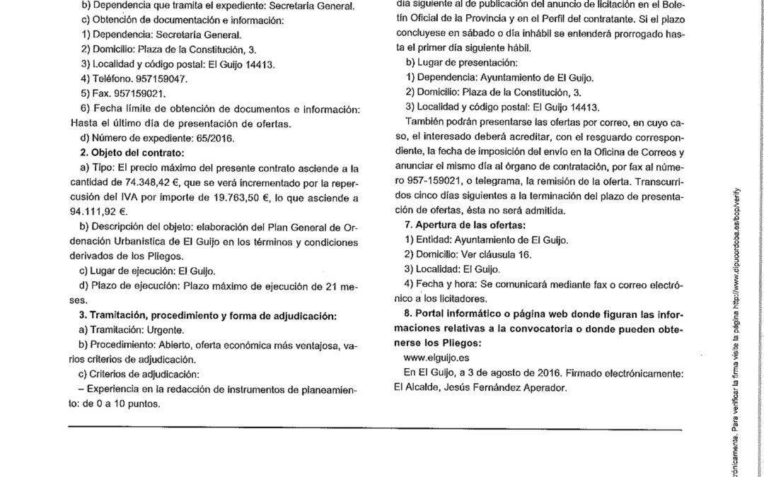 Anuncio en el BOP de la licitación PGOU en El Guijo 1